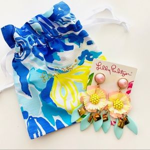 Lilly Pulitzer Garden Gem Statement Earrings/Pouch
